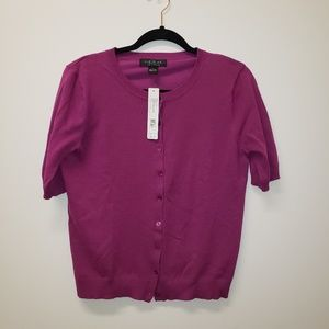 August Silk Heritage short sleeve cardigan sweater